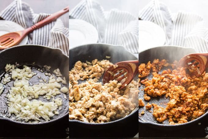 Collage Showing Steps for Making Chipotle Tempeh Tacos: Sauté Onion and Garlic, Add Crumbled Tempeh, and Add Spices