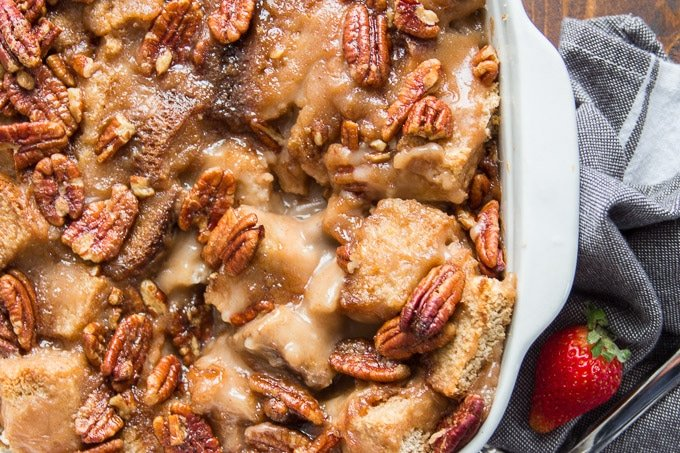 Close Up of Maple Pecan Vegan Bread Pudding in a Baking Pan