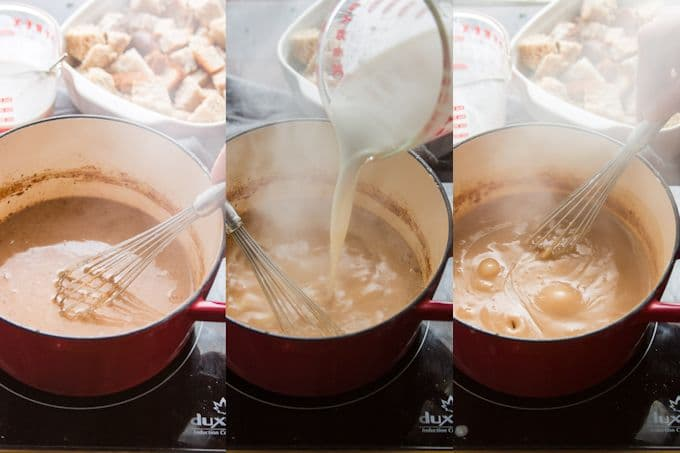 Collage Showing Steps 1-3 for Making Maple Pecan Vegan Bread Pudding: Mix Wet Ingredients, Bring to a Simmer, and Add Cornstarch Slurry