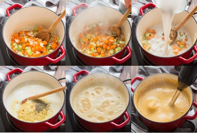 Collage Showing Steps for Making Vegan Cheeseburger Soup: Sauté Onions, Carrots & Celery, Add Garlic & Flour, Add Non Diary Milk, Add Seasonings and Potato, Simmer and Blend