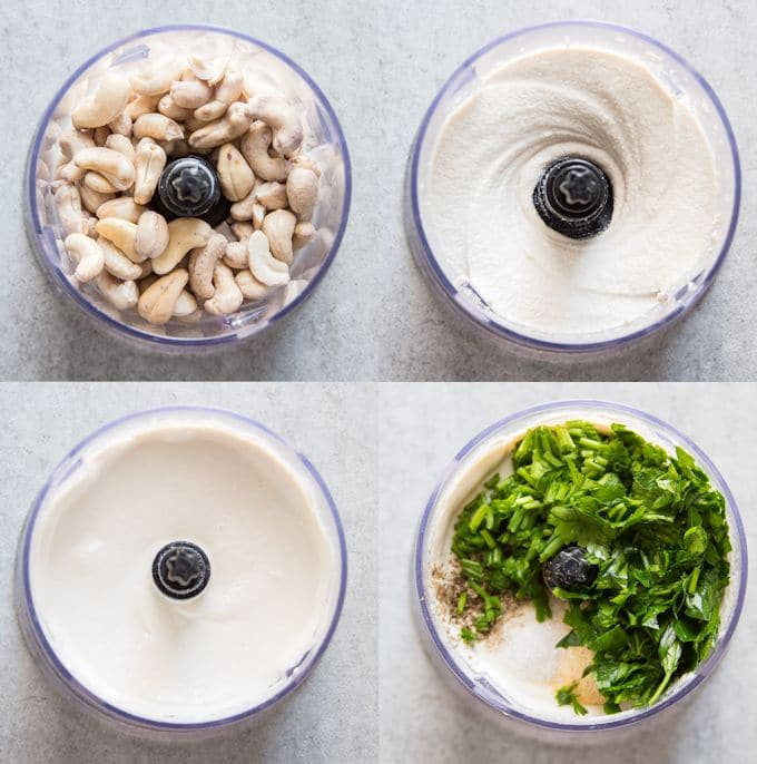 Collage Showing Stages of Making Vegan Ranch Dressing: Blend Cashews, Add Water and Blend, Add Herbs and Seasonings, and Pulse to Mix