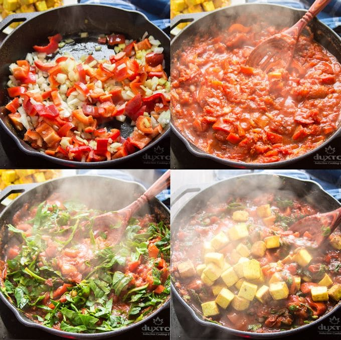 Collage Showing the Steps for Making Vegan Shakshuka: Sauté Peppers and Onions, Add Tomatoes and Spices, Add Spinach and Add Tofu