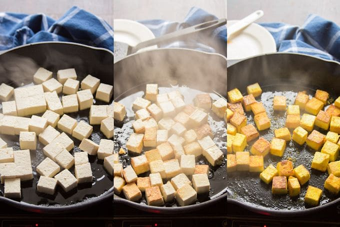 Collage Showing the Steps for Making Tofu For Vegan Shakshuka: Brown Tofu in a Skillet, and Add Turmeric, Lemon Juice and Salt