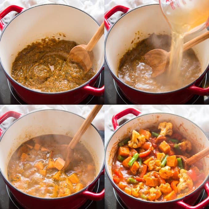 Collage Showing Steps for Making Sweet Potato & Vegetable Vindaloo: Sauté Vindaloo Paste, Add Broth and Sweet Potatoes, Simmer, and Add Vegetables