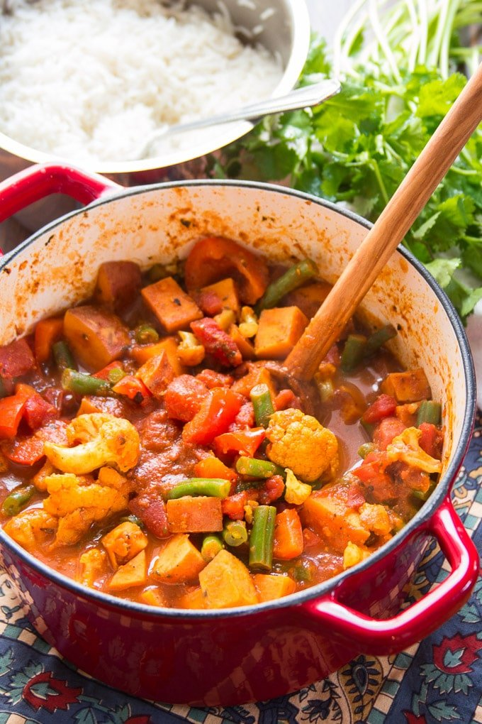 Sweet Potato & Vegetable Vindaloo in a Pot with Serving Spoon