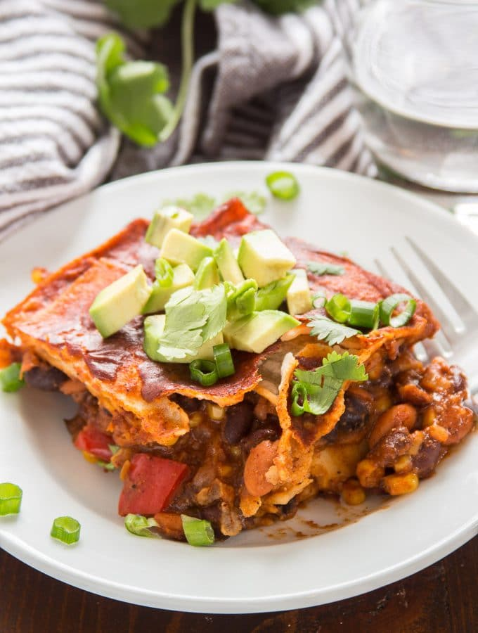 Loaded Enchilada Casserole on a Plate with Fork