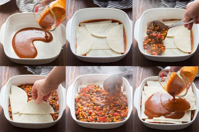 Collage Showing Steps for Assembling Loaded Enchilada Casserole: Pour Sauce in a Pan, Arrange a Layer of Tortillas, Arrange a Layer of FIlling, Arrange Another Layer of Tortillas, Arrange a Second Layer of Filling, Arrange a Final Layer of Tortillas, and Arrange a Final Layer of Sauce