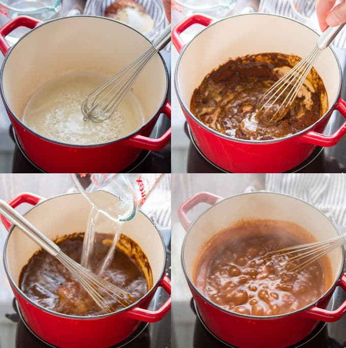 Collage Showing Steps for Making Enchilada Sauce: Cook Flour in Oil, Add Spices, Add Liquid, and Simmer
