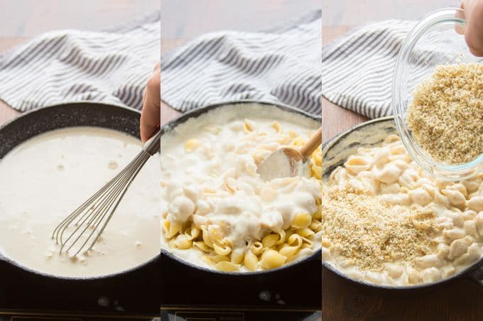 Collage Showing Steps for Making Vegan Everything Bagel Mac and Cheese: Simmer Cheese Sauce, add Pasta, Top with Everything Bagel Seasoning and Panko Breadcrubs