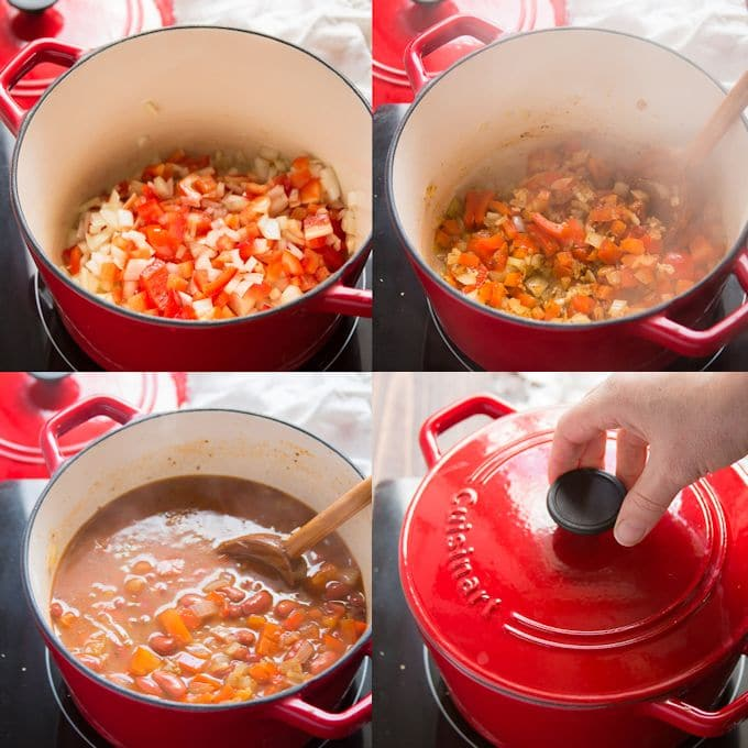Collage Showing Steps for Making One-Pot Spanish Rice & Beans: Sweat Onion and Bell Pepper, Add Garlic and Spices, Add Broth, Beans and Rice, Cover and Simmer