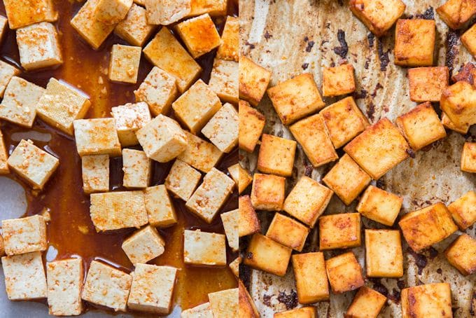 Side By Side Shots of Smoky Tofu Before and After Baking