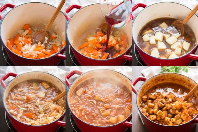 Collage Showing Steps for Making Vegan Bigos: Cook Onions and Carrots, Add Wine, Add Broth and Potatoes, Add Sauerkraut, Simmer and Add Baked Tofu