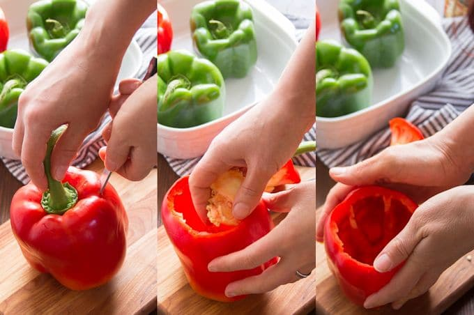Collage Showing Steps for Prepping Peppers for Italian Vegan Stuffed Peppers for Vegan Stuffed Peppers: Cut Off Tops, Remove Insides, and Rub with Oil