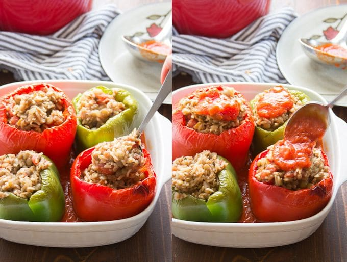 Collage Showing Steps for Filling Italian Vegan Stuffed Peppers: Fill Roasted Peppers with Rice & Lentil Stuffing, and Top with Marinara Sacue
