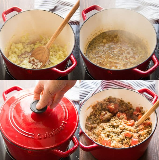 Collage Showing Steps for Making Vegan Stuffed Pepper Filling: Sauté Onion and Garlic, Add Rice and Broth, Simmer While Covered, and Add Tomatoes
