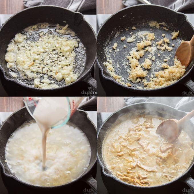 Collage Showing Steps for Making Hot Open-Faced Vegan Turkey & Gravy Sandwich: Cook Onion, Add Flour and Garlic, Add Liquid Ingredients and Simmer, then Add Seitan and Simmer