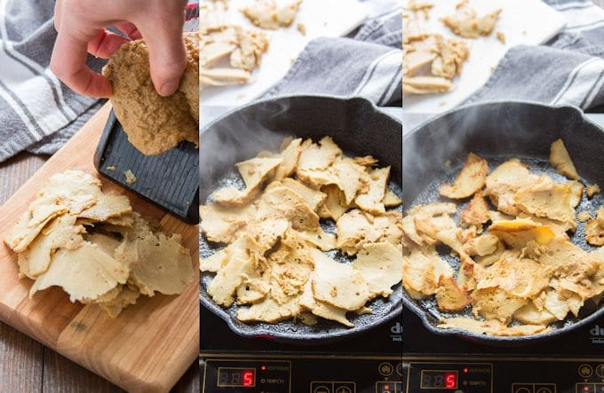 Collage Showing Steps for Preparing Seitan for Vegan Turkey Sandwiches: Slice the Seitan Thin, Then Brown it on Both Sides in a Skillet