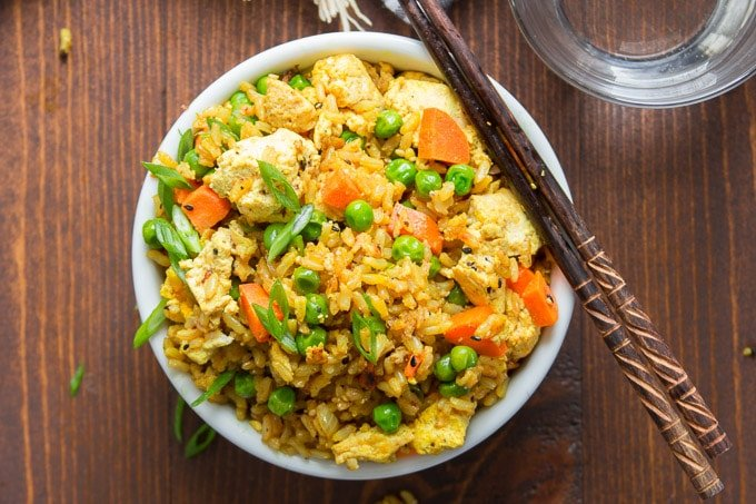 Bowl of Curry Fried Rice with Chopsticks