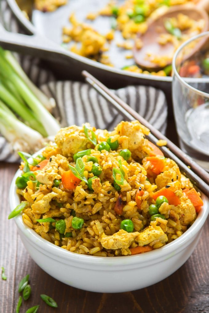 Curry Fried Rice with Scrambled Tofu
