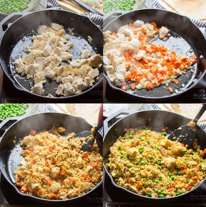 Collage Showing Steps for Making Curry Fried Rice: Scramble Tofu, Sauté Onions and Carrots, Fry with Rice and Sauce, and Add Peas