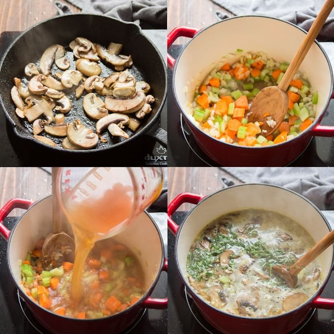 Collage Showing Steps for Making Mushroom Lemon Orzo Soup: Sauté Mushrooms, Sweat Veggies, Add Broth and Herbs, Simmer with Orzo