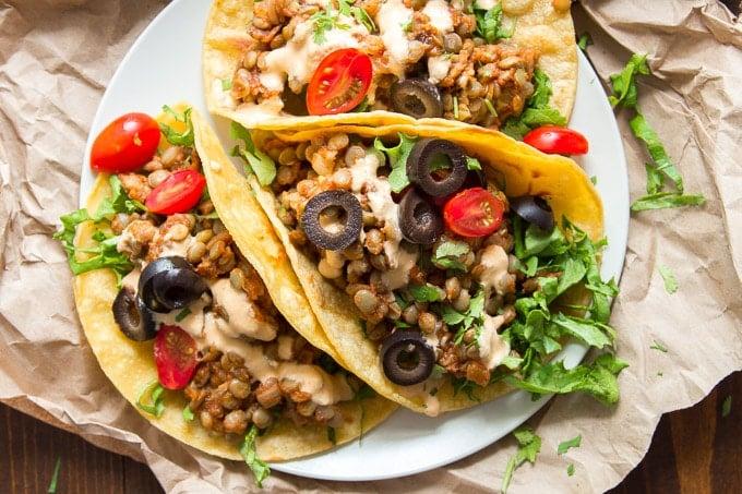 Three Vegan Lentil Tacos on a Plate