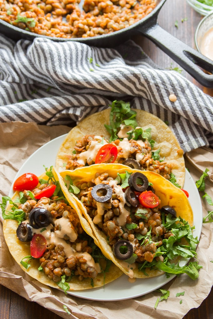 Easy Lentil Tacos with Cashew Queso