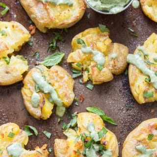Garlic Smashed Potatoes Drizzled with Basil Aioli