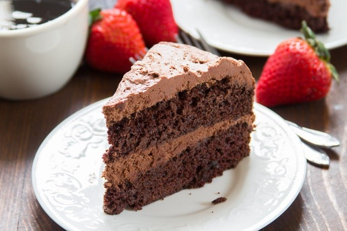 Slice of Double Layer Vegan Chocolate Cake on a Plate