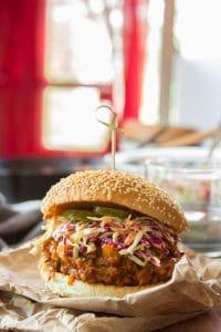 "Vegan Barbecue ""Beef"" Sandwich on a Sesame Seed Bun"