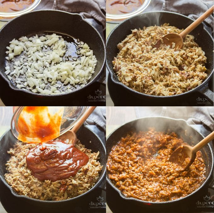 Collage Showing How to Cook Vegan Barbecue Beef: Sauté Onion, Add Seitan, Add Sauce and Simmer