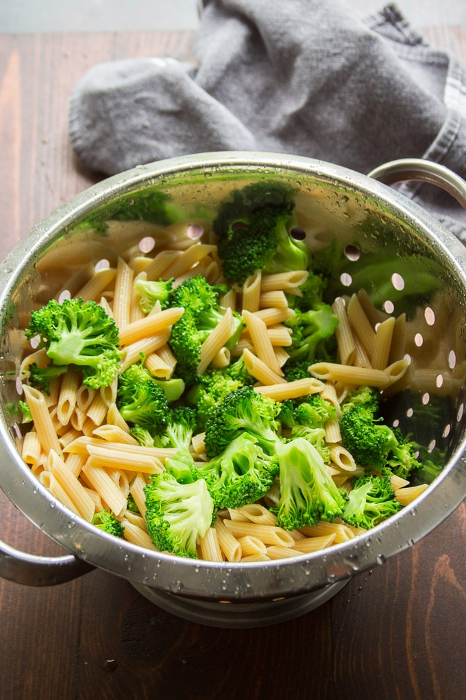 Broccoli and Penne Pasta in a Colander