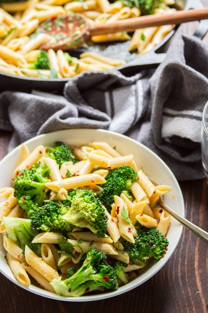 Bowl of Broccoli Pasta with Skillet in the Background