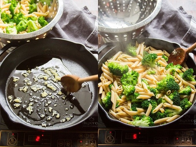 Collage Showing Steps for Cooking Broccoli Pasta: Cook Garlic in Olive Oil, and Pasta and Broccoli and Sauté