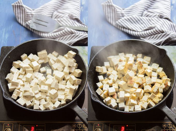 Side By Side Photos Showing Two Stages of Tofu Cooking in a Skillet