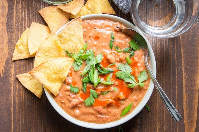 Bowl of Mexican Pinto Bean Soup with Tortilla Chips
