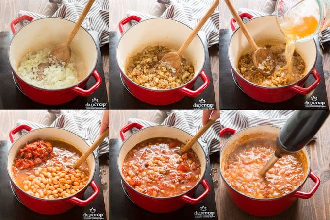 Collage Showing Steps for Making Mexican Pinto Bean Soup: Sweat Onion, Add Garlic and Spices, Stir in Broth, Beans and Tomatoes, Simmer, and Blend