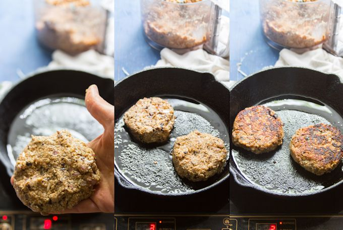 Collage Showing Steps for Making Teriyaki Tempeh Burgers: Shape Patties and Cook Until Browned on Both Sides