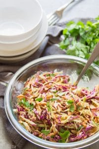 Vegan Coleslaw with Parsley in the Background