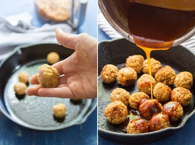 Collage Showing Steps for Making Firecracker Chickpea Meatballs: Roll Mixture Into Balls, Bake and Cover with Sauce