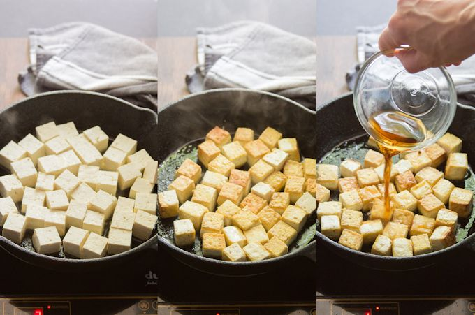 Collage Showing Steps for Making Salt & Vinegar Tofu: Pan-Fry Tofu Until Crispy, Then Add Salt & Vinegar