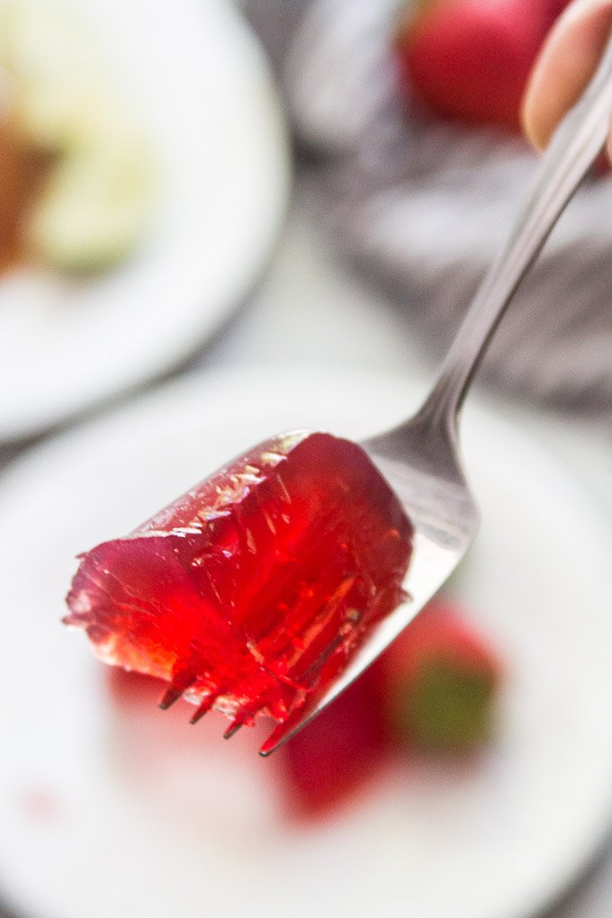 Close Up of Vegan Jello on a Fork