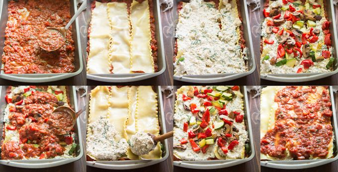 Collage Showing Steps for Assembling the Layers of a Vegan Lasagna