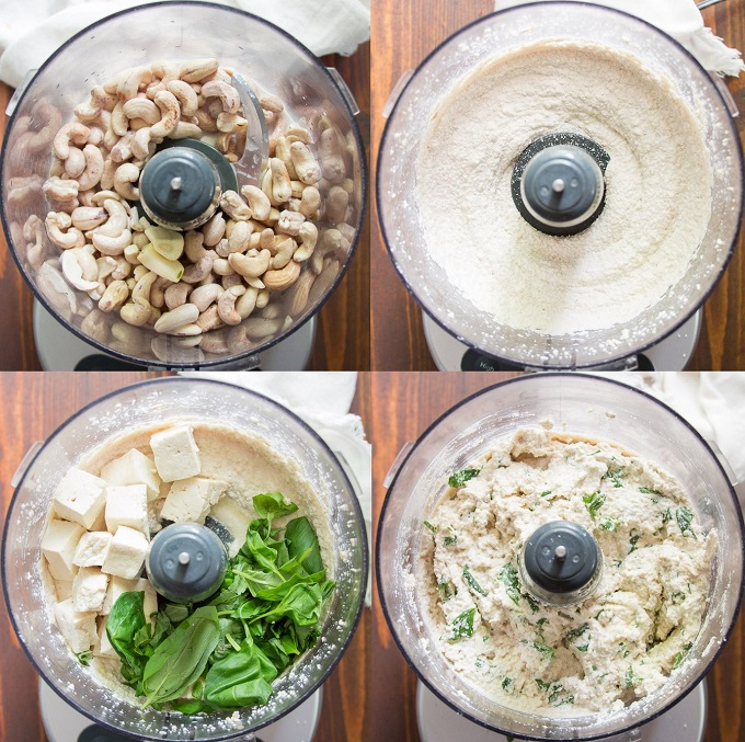 Collage Showing Steps for Making Tofu Ricotta Cheese: Blend Cashews and Non-Dairy Milk, Add Tofu, Lemon Juice, and Basil, Blend Until Chunky