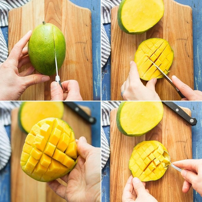 Collage Showing the Steps for Dicing a Mango
