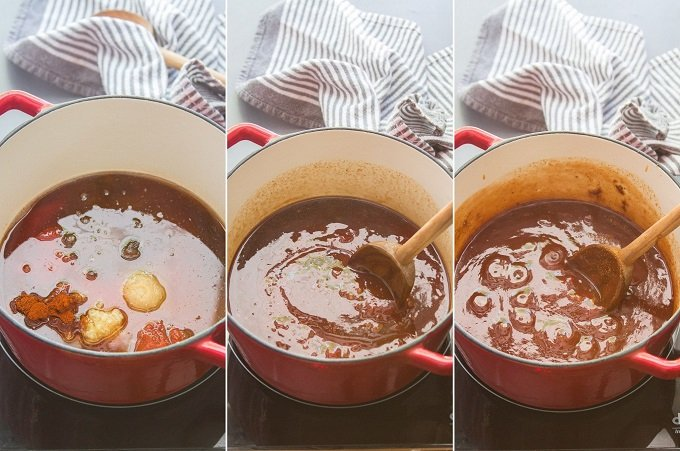 Three Image Collage Showing 3 Stages of Vegan Barbecue Sauce Cooking in a Pot