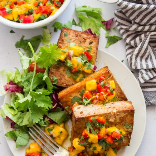 Grilled Tofu With Mango Salsa Connoisseurus Veg