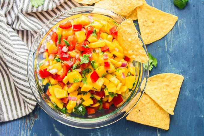 Mango Salsa in a Glass Bowl with Tortilla Chips