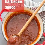 Collage Showing Steps for Making Vegan Barbecue Sauce: Add Ingredients to Pot, Mix and Simmer