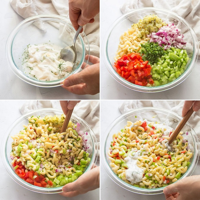 Collage Showing Steps for Making Vegan Macaroni Salad: Mix Dressing, Add Pasta And Veggies to Bowl, Mix, and Add Dressing